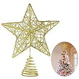 Unomor Weihnachtsbaum Christbaumspitze Stern–Gold Glitzer Metall Baum Stern Großartiges Design Passend für durchschnittlich großeWeihnachtsbäume, 25.5cm mit Frühling für 6ft bis 7ft Weihnachtsbaum