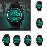 Luoluoluo Man Smart Watch LED Digital Date Military Sports Watch Rubber Strap Quartz Waterproof Wrist Watch