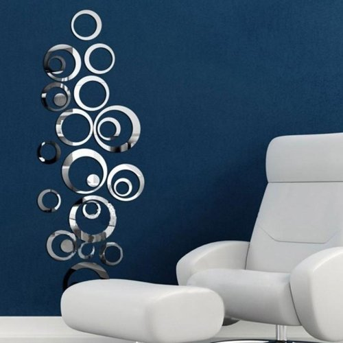 Ltopow- 3D Espejos Pegatinas de Pared, Adhesivos de Pared, Espejos Calcomanías Decorativas de Pared,Vinilo Material, Movible, Extraíble, Decoración Hogareña