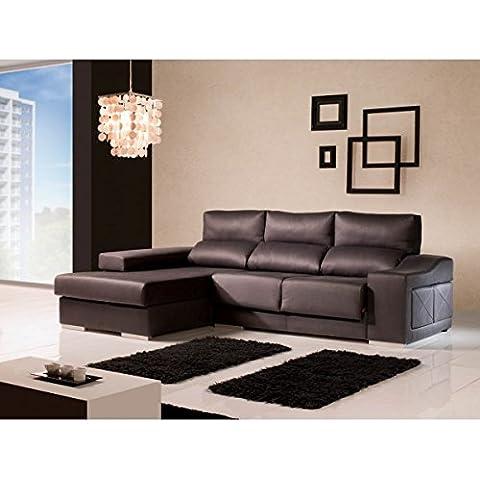 Sofá con chaise longue izquierda con puff en brazo reclinables. Varios colores
