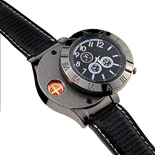 HUIHUAN Watch Feuerzeug New Military USB Lighter Watch Herren Casual Armbanduhren mit winddichtem, flammenlosem Zigarettenanzünder