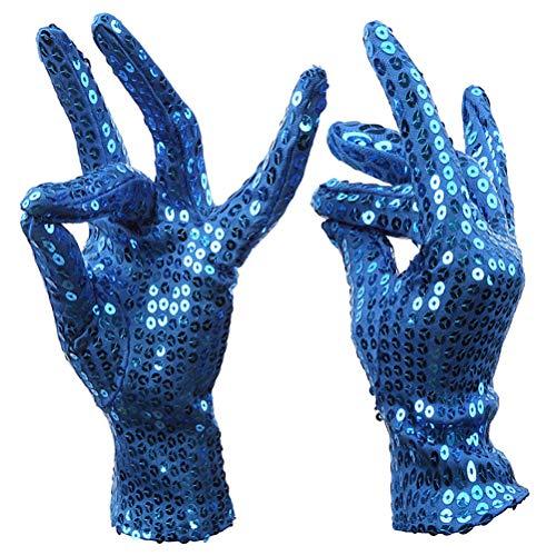 Anqeeso Pailletten Handschuhe für Cosplay, Erwachsene Kinder funkelnde Dance Party Handschuhe
