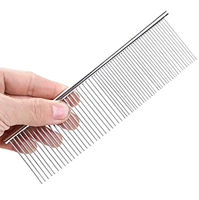 Happy- little -bear Pet Combs Golden Hairsamoye Row Comb Open Comb(M,Silver) by happy- little -bear