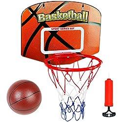 Panier De Basket Mural Jouet Enfants Jeux de Sport Loisir avec Mini Basketball et Pompe à air pour Garçon Fille Adult