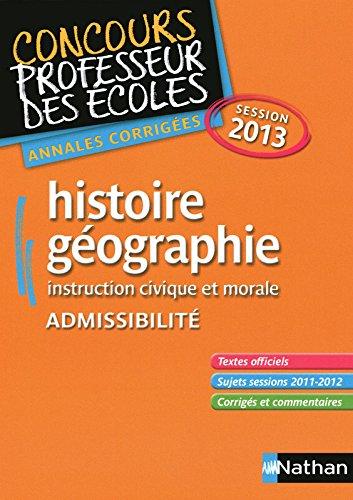HISTOIRE/GEO 2013 ADMISSIBILIT