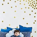 DOLDOA ☀『Wandtattoo / Wandaufkleber』☀ Gold Wandabziehbild Punkte 200 Abziehbilder leicht zu schälen leicht zu kleben + sicher auf bemalt