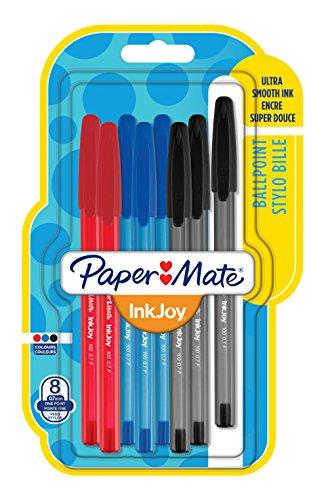 Foto de PaperMate InkJoy 100 CAP, bolígrafo con capuchón, punta fina de 0,7mm y colores estándares surtidos, paquete de 8 (1956757)