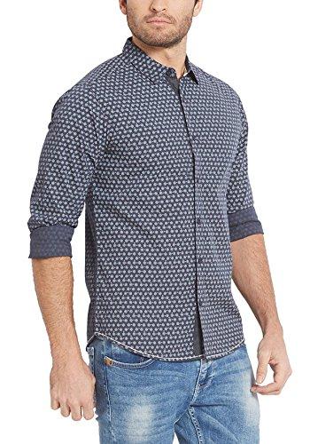 Spykar Men's Printed Slim Fit Casual Shirt (MSH-01AG-MYN-25_Charcoal_XX-Large)