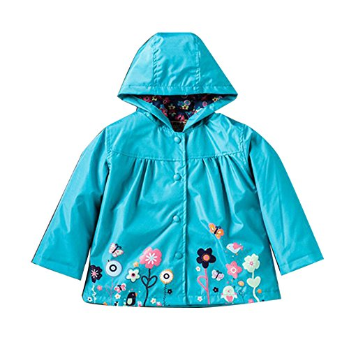 ROT Kids Girls Clothes Jacket Raincoat Waterproof Hooded Coat Outerwea (130cm(Age For 5.5T-6.5T), Blue)