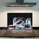 DAMU | Ceranfeldabdeckung 1 Teilig 80x52 cm Herdabdeckplatten aus Glas Obst Eis Rot Elektroherd Induktion Herdschutz Spritzschutz Glasplatte Schneidebrett