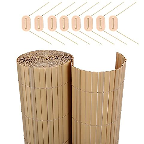 Songmics PVC Sichtschutzmatte 90 x 600 cm (Zusammengesetzt aus 2 Matten, je 90 x 300 cm) GPF096M