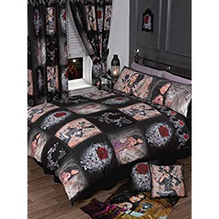 King Size Bed The Story Of The Rose, Duvet / Quilt Cover Bedding Set, Alchemy Gothic, Mask Red, Black, Purple, White