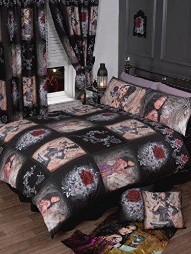 eschichte der Rose,/Bettbezug Bettwäsche-Set, Alchemy Gothic, Maske rot, schwarz, violett, weiß (Christmas Spider Geschichte)