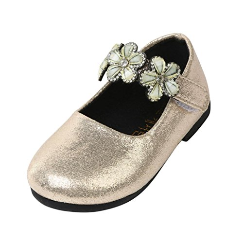 (Lenfesh Kleinkind Kinder Mode Weiche Ballerina Floral Pricness Casual Flache Schuhe (22 EU(23 CN), Gold A))