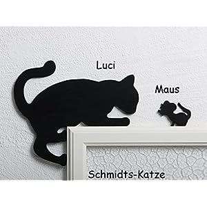 Kantenhocker Katze Luci mit Maus in schwarz, als Wanddekoration für den Türrahmen