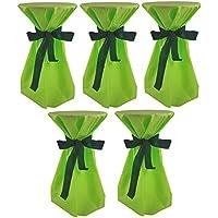 Sensalux, 5 Stehtischüberwürfe (nicht genäht) abwischbar - (Farbe nach Wahl), Überwurf apfelgrün Schleifenband grün, Tischdurchmesser 60-70 cm, die preisgünstige Alternative zur Husse