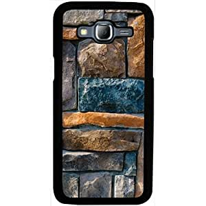 Casotec Decorative Stone Cladding Design 2D Hard Back Case Cover for Samsung Galaxy J5 - Black