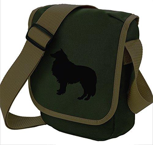 Bag Pixie ,  Unisex Erwachsene Umhängetaschen Black Dog on Olive