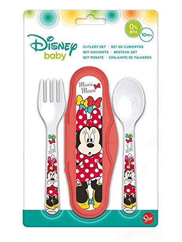 Disney-45314 Minnie Estuche con 2 Cubiertos, STOR 45314