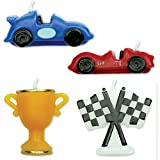 PME CA006 Kerzen mit Rennwagenmotiv, Sortiment, 4-teilig, Kunststoff, Multicolored, 4 x 1.5 x 4 cm