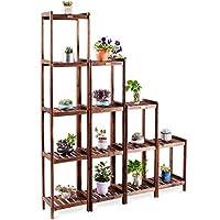 CASART Wood Plant Pot Stand | Flower Rack | Display Shelf| Pot Holder, Wood Materials, Multilayer Design, Combinable Construction, Garden, Patio, Yard, Outdoor, Indoor, 2/3/4/5 Tiers Available (4 Tiers)