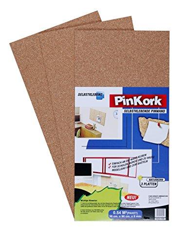 Selbstklebepinnwand aus Kork, 3 Platten á 60x30cm, Pinnwand selbstklebend - Vigo 30