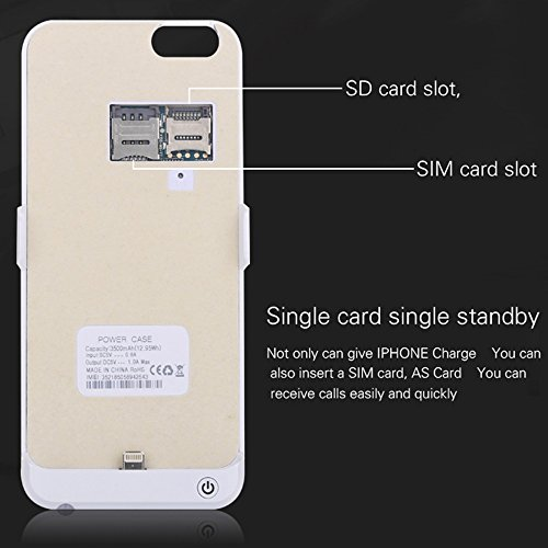 Cover Power Bank iPhone 6 / 6S da 3000mAh - Skitic Batteria Ricaricabile Esterna Banca di Potere Caricabatterie Portatile Insert Sim/SD Card Call Clip Backup Battery Charger Protettiva Custodia Case - Bianca
