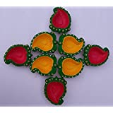 Madhoksh - Mango Shaped Handmade Diyas Designed With Beautiful Sequin And Spangle With Golden Beads (Set Of 8 )