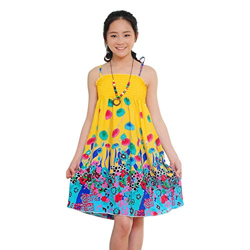Floral 5'3 (MiyaSudy Mädchen Party Kleidung Floral Blume Ärmellos Casual Sommer Strand Midi Kleider For 3-12 Jahre (7-8 Jahre, Gelb))