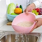 TAOtTAO Kunststoff Gemüse Obst Reis Waschen Sieb Sieb Sieb Korb Küche Werkzeug (Rosa)