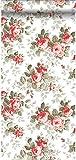 papier peint roses corail rouge - 138111 - d'ESTAhome.nl