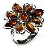 Bernstein Sterling Silber Blumen Ring Grobe 55 (17.5)