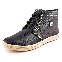 Golden Sparrow MenS Black Fabric Synthetic Casual Shoe (Tm-P09-10)- 10 Uk