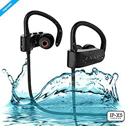 ZAAP (USA) AQUA GEAR Bluetooth Waterproof Headphones/Headsets {Award-winning Tech} IP-X5 rated with 4.1 Bluetooth Technology- Universal Compatibility Wireless Headphone/Ear buds with Built-In Microphone (Black)