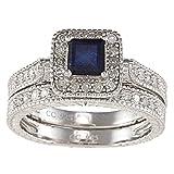 Sterling Silver 1.50ct Genuine Blue Sapphire and Diamond Bridal Set
