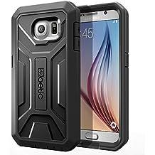 Funda Samsung Galaxy S6 - Poetic [Serie Revolución] [Pesada] [Doble Capa] Funda de Protección Hibrida Completa con Protector de Pantalla Incorporado para de Samsung Galaxy S6 (2015) Negro (3 Años Garantía del Fabricante Poetic)
