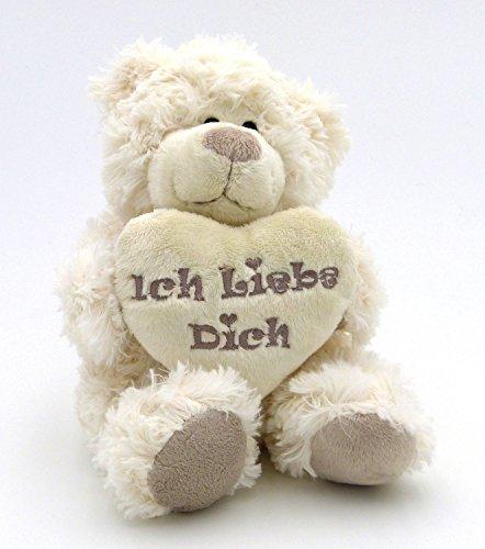 (Süßer Creme Plüsch Teddy Bär mit Herz - Ich Liebe Dich - Freundschaft & Liebe - Süße Flauschige Geschenkidee)