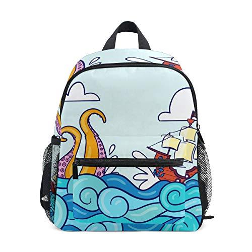 Nautischer Rucksack mit Oktopus-Piraten-Motiv, Schulrucksack, Studentententasche, für Kinder, Reisen, Tagesrucksack, Mädchen, Jungen, 3-8 Jahre, Kleinkinder, Vorschule