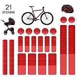Mture Adesivi Riflettenti, Adesivi Luminosi, Adesivi universali, per Ciclismo, Casco, Carrozzina, Passeggino, 21 Pezzi -Rosso