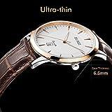 BUREI Dünne Herren Quartz Armbanduhr mit Rosegoldenem Uhrengehäuse Weißem Ziffernblatt