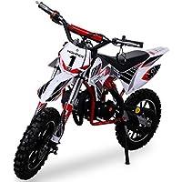 Kinder Mini Crossbike Gazelle 49 cc 2-takt inklusive Tuning Kupplung 15mm Vergaser Easy Pull Start verstärkte Gabel Dirt Bike Dirtbike Pocket Cross rot/weiß