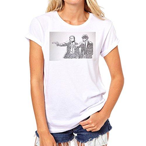 Pulp Fiction Standing And Shooting Background Damen T-Shirt Weiß