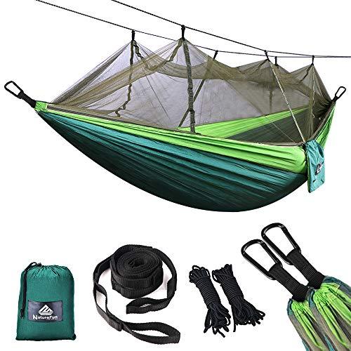 NATUREFUN Ultraleichte Moskito Netz Camping Hängematte 300kg Tragfähigkeit,(275 x 140 cm) Atmungsaktiv, schnell trocknende Fallschirm Nylon Enthalten 2 x Premium Karabinerhaken 4 x Nylonschlingen