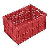 WALTHER Faltbox aus Polypropylen - Inhalt 60 l, ohne Deckel - rot, Ausführung durchbrochen - Faltbox Klappbox Lagerkasten Stapelkasten aus Kunststoff Transport-Behälter Transportkiste aus Kunststoff Stapelkisten Stapelkisten