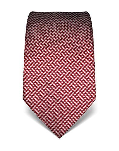 Business Krawatten (Vincenzo Boretti Herren Krawatte reine Seide Hahnentritt Muster edel Männer-Design gebunden zum Hemd mit Anzug für Business Hochzeit 8 cm schmal / breit weinrot / weiß)