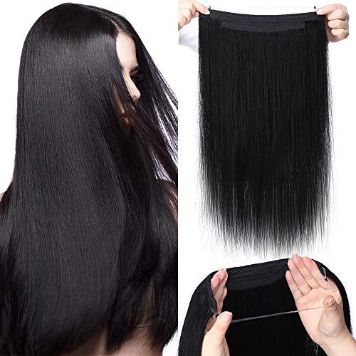 """TESS Extensions Echthaar 1 Tresse Doppelt Dicke Draht komplette Haarverlängerung guenstig Haar Extensions Glatt 22""""(55cm)-120g #1 Schwarz"""