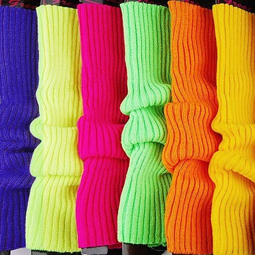 uyhghjhb Rayas de Las Mujeres del Color del Caramelo Calcetines de Punto Calentadores de la Pierna Estilo Flojo Calcetines de Arranque de Regalo