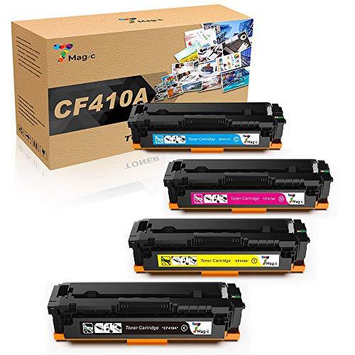 410A CF410A Tóner HP, 7Magic Cartucho de tóner compatibile per HP Color LaserJet Pro MFP M477fdn M477fdw M477fnw M452DN M452dw M452nw M377dw Impresora 4-Pack (Negro*1, Cyan*1, Amarillo*1, Magenta*1)