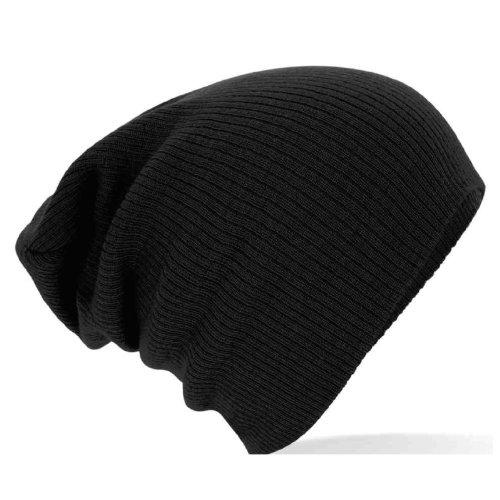 Gorro caído de punto, color liso B461 negro negro