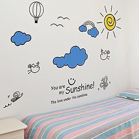 Wall decal sticker camera scuola materna per bambini presenta decorazione parete aula di scuola elementare , blue